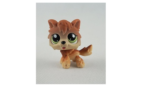 Brown Wolf Dog Pubby Littlest Pet Shop LPS mini Action Figure be145e8e-8a6b-42d9-be07-d08cceb233ee