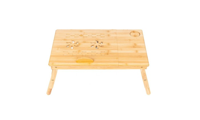 Bamboo Laptop Desk Folding Breakfast Fixed Cup Bed Serving Tray w// Drawer US