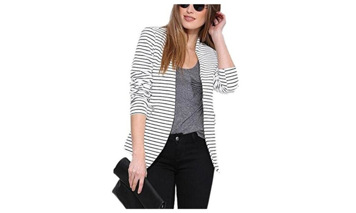 Women's  Black&White Stripe Open Front Slim Blazer Jacket Suit Coat