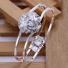 Silver Lightweight Bangle with Rose Emblem