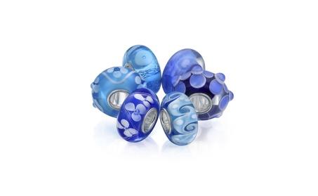 Bling Jewelry Set of Six Bundle Blue Murano glass Lampwork Charm Bead 256dfbcc-e3ca-4145-80dc-a80ea61cd799