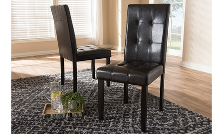 Avery Dark Brown Faux Leather Upholstered 2-piece Dining Chair Set
