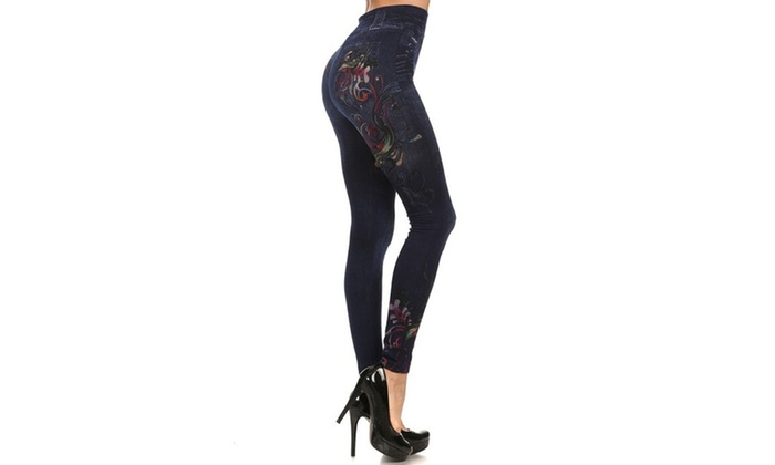 Fleece Jeggings With Floral Print Sublimation