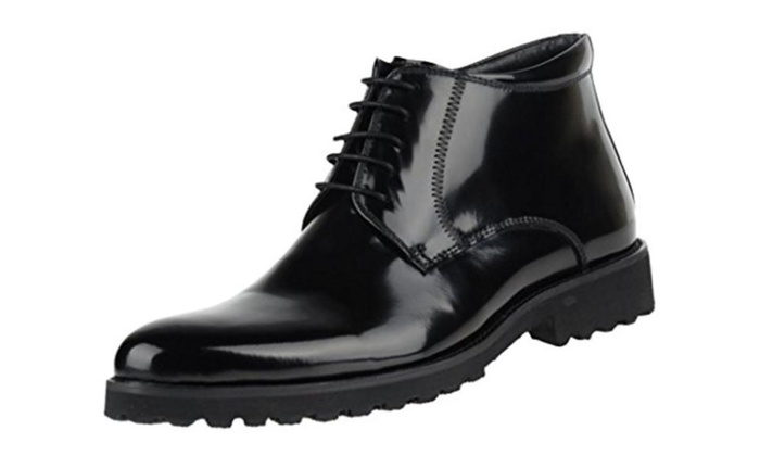 FARYM Men's Gloss Leather Lace Up Formal Casual Wedding Short Boots