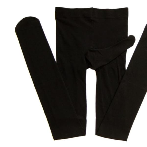 Men Shiny Glossy Mens Pantyhose Nylon Stocking Tights Sheath Open Close Black