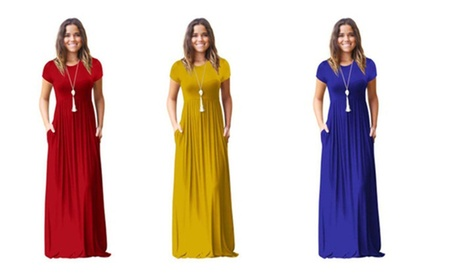 New Fashion Women's Short Sleeve Solid Color A line Maxi Dress
