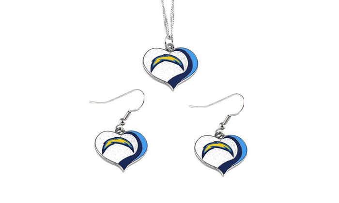 San Diego Chargers NFL Glitter Heart Necklace and Earring Set