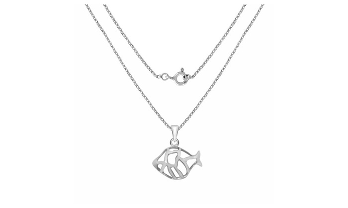 Orchid jewelry 925 sterling silver fish pendant necklace groupon orchid jewelry 925 sterling silver fish pendant necklace aloadofball Image collections