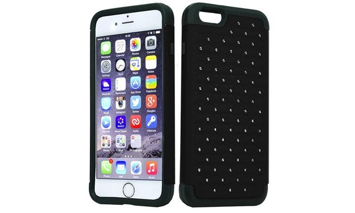 Groupon Goods: (XL) iPhone 6 Plus 5.5 Hybrid Spot Diamond Case Black