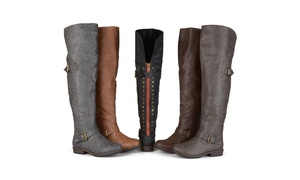 Journee Collection Womens Studded Over-the-knee Buckle Boots