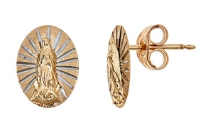 14K Solid Gold Blessed Virgin Mary of Guadalupe Stud Earrings by Moricci