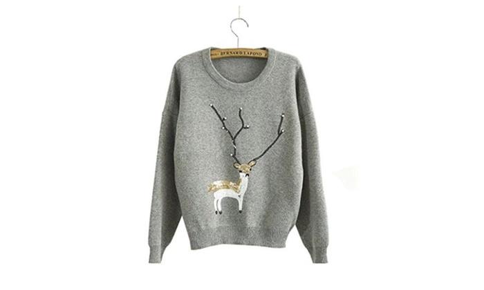 KSJK Women's Fashion Reindeer Christmas Jumper Crew Neck Pullover Sweater
