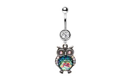 316L Stainless Steel Jeweled Rainbow Owl Dangle Navel Ring d0803b17-4cd2-4e5a-a48c-d582f6aecf26