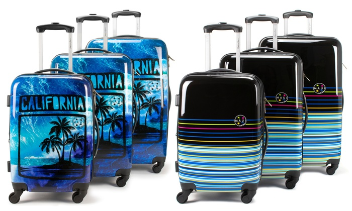 46e18ceb0375 Maui and Sons 3 Piece Expandable Hardside Spinner Luggage Set with a ...