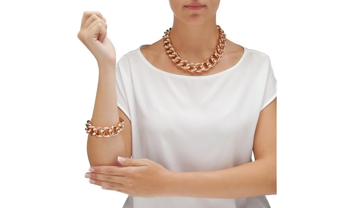 Necklace Bracelet And Earrings Rose Gold Plated Groupon
