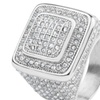 Stainless Steel Square Micro Pave Cubic Zirconia Ring
