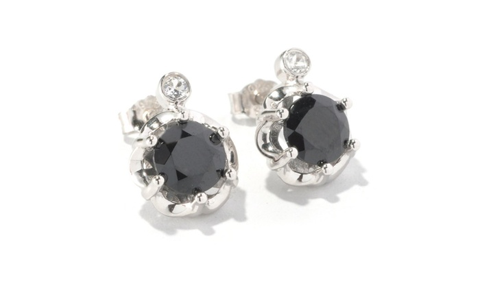 Sterling Silver 1 90ct Black Spinel And White Topaz Stud Earrings