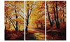 Forest in Autumn Landscape Metal Wall Art 36x28 3 Panels