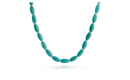 Bling Jewelry Turquoise Gemstone Knotted Oval Beaded Necklace 2996fcd6-73d5-4798-849a-1b546d03ccb7