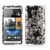 Insten Skull Hard Rubber Coated Case For HTC One M7 Black/White
