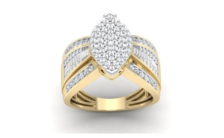 10K Yellow Gold 1.03Ct Round Cut Real Diamond Marquise Engagement Ring
