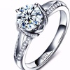 Luxury CZ Crystal Solitaire Chic White Gold Plated Ring