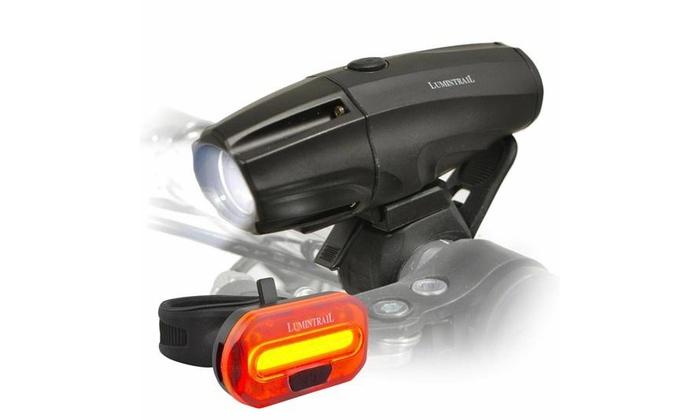 Lumintrail Super Bright USB Rechargeable LED Bike Light Set Headlight Taillight