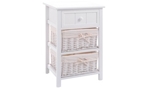 Costway Night Stand 3 Layer 1 Drawer Bedside End Table 2 Wood  Basket