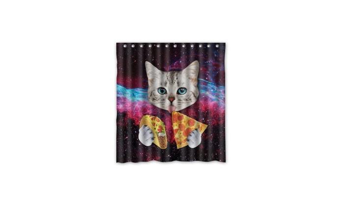 Custom Space Nebula Universe Cat Eat Pizza Shower Curtain Stylish