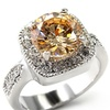 Champagne Cubic Zirconia Engagement Ring - Framed Platinum Plated