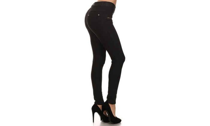 Fleece Fashion Jeggings With Zippers