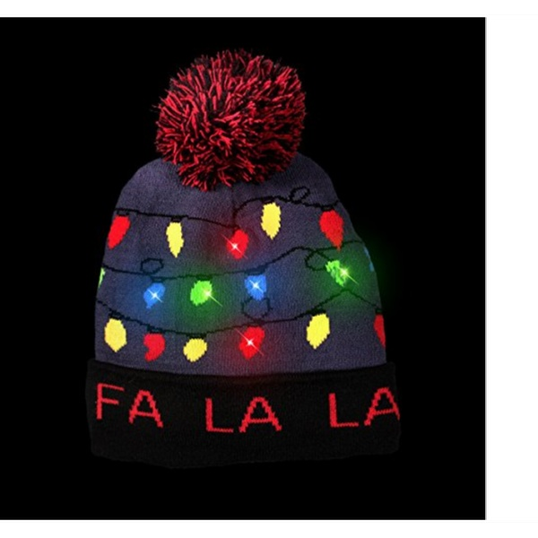 af95744717475 LED Light Up Ugly Fa La La La Sweater Beanie Christmas Hat