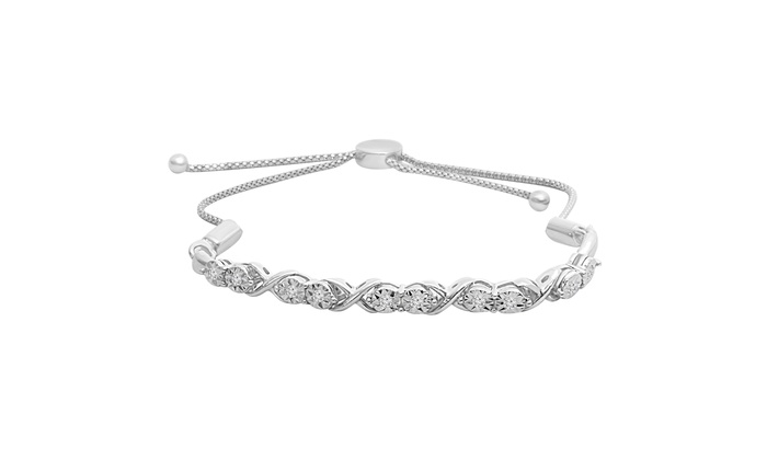 cfbd7f3a131e 1 6 cttw Round Natural White Diamond Infinity Bolo Bracelet Sterling Silver
