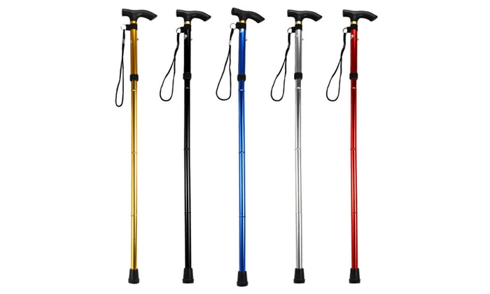 4 Sections Adjustable Aluminum Cane Stick for Hiking and Trekking