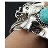 Womens Large Elephant Turquoise Cuff Bangle Bracelet