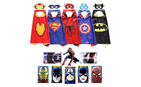 Superhero Dress Up Costumes 5 Satin Capes with Felt Masks 221b6829-325d-4472-8d50-8c8056685c33