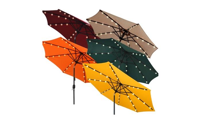 9 10 Solar Led Aluminium Patio Umbrella Light Deck Gazebo Tilt