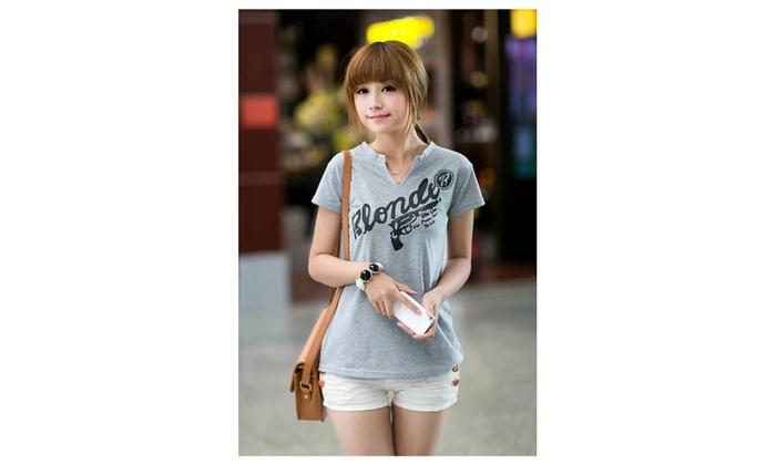 Women's V-Neck Stretch Printed T-Shirt - KMWSB706-KMWSB707