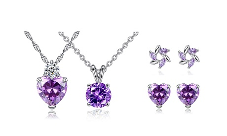 Leo Rosi Jewelry Collection 4 pcs of Purple Gem Crystal Jewelry