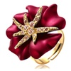 Luxury Crystals Adjustable Starry Night Flower Ring for Women