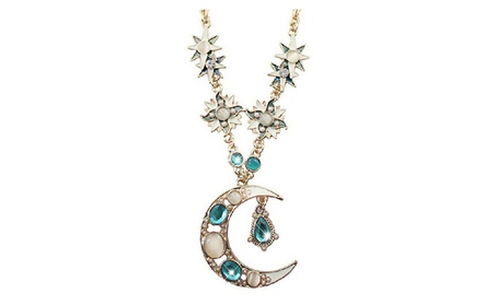 Sun Moon Decoration Alloy Rhinestone Pendant Necklace 6cd63920-f9ae-4b54-8b71-68b1708bafde