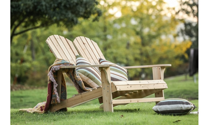 Outdoor Wooden Double Adirondack Chair ...