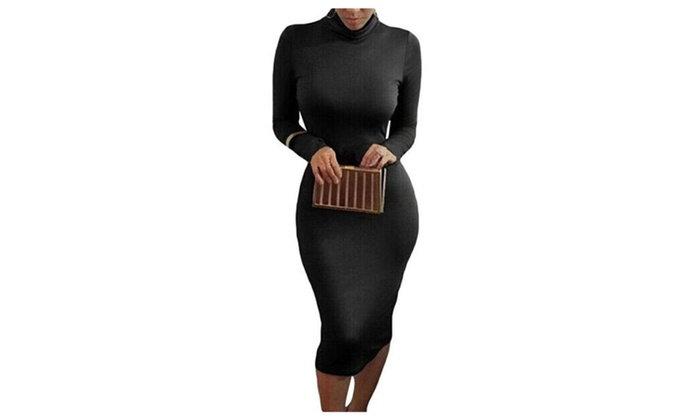 Womens Stretchy Turtleneck Long Sleeve Bodycon Bandage Midi Dress