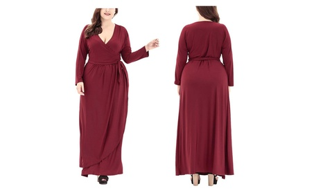 Women Large Size Full Sleeve V Neck Solid Loose Casual Long Dress d25bad78-3400-448e-9c66-b4b497343abf