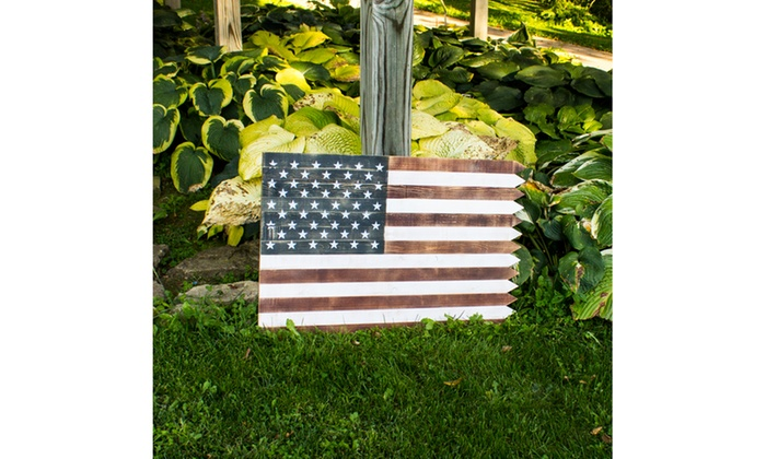 Outdoor Wooden American Flag Wall Sign
