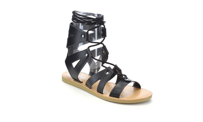 Beston IA36 Women's Strappy Caged Lace Up Studded Cutout Flat Sandals