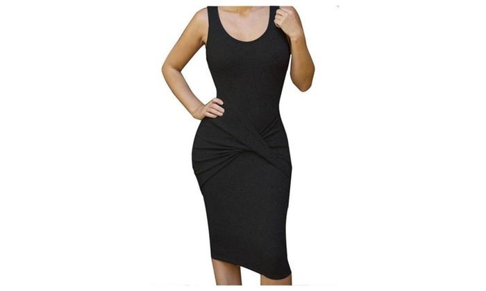Womens Sleeveless Sexy Bodycon Mini Bandage Party Evening Dresses