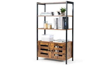 Industrial Storage Cabinet Bookshelf Bookcase Bathroom Floor Cabinet W/3 Shelves