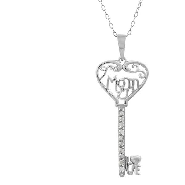 6b52d25ea Sterling Silver 1/10 cttw Diamond Mom Key Pendant | Groupon