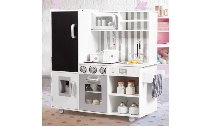 Costway Kids Pretend Kitchen Playset Cooking Toys w/ Sounds ...